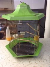 Vintage Large Green Plastic And Wire Bird Cage