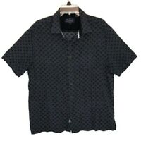 Nat Nast Mens Button Front Short Sleeve Silk Cotton Print Shirt Large