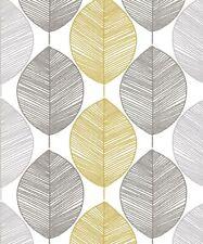 Arthouse Scandi Leaf Yellow Retro Wallpaper 698401