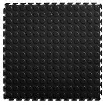 NEW Multipurpose Black Floor Tile (8) count 20.5 in x 20.5 in Coin PVC Plastic
