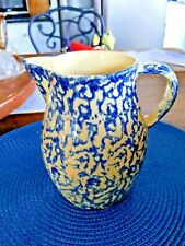 Spongeware Creamer 1 Qt. Roseville Ohio Pitcher Blue Lovely! Robinson Ransbotto