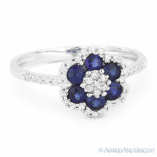 0.76ct Round Cut Blue Lab-Sapphire Diamond 14k White Gold Right-Hand Flower Ring