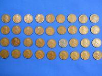 """Lincoln Wheat Cent Penny Denver """"D"""" Mint Set 1915D-1958D Collection 36 Coins!"""