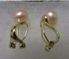 10mm Pink Natural Freshwater Pearl Gold Sterling Silver Clip On Earrings