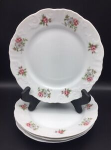 SET of 4 Princess House ROSE GARDEN Porcelain DESSERT PLATES - Portugal - 8""