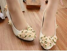 Decolté decolte scarpe donna ballerina bianco evento sposa fiori 3.5, 4.5  9347