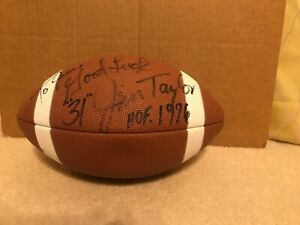 Jim Taylor Signed AUTO Football Green Bay Packers LSU Tigers HOF S1