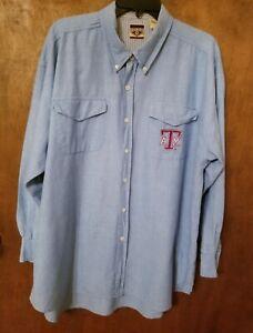 Texas A & M Mens XL Long Sleeve Button Down Shirt Light Blue Embroidered Logo