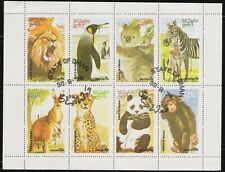 State of Oman sheet of 8 Animal Stamps, Zebra, Penguin CTO Trucial State bogus