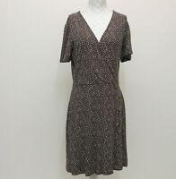 Next Size 10 Womens Brown Ditsy Spot Faux Wrap Jersey Short Sleeve Dress