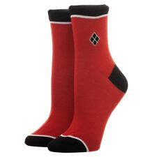 DC COMICS HARLEY QUINN EBROIDERED DIAMOND LOGO JUNIORS MID ANKLE ANKLET SOCKS