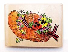 NEW Vintage NO BRAND Wood Rubber Stamps STRAW BONNET HAT Flowers Pansies, Ribbon