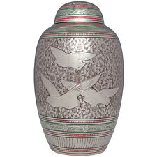 Grey, Pink, Flying Doves, Birds - Brass Funeral Cremation Urn,  Adult