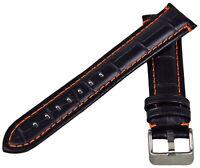 Cuero Correa de Cocodrilo Óptica Negro Con Naranja Cosido 18-24mm Pulsera Reloj