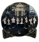 Asian Mid Century Mother Of Pearl  3-Panel Room Divider Screen Painting