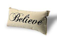 """Believe Pillow 100% Natural USA Made Canvas 8"""" x 15"""""""