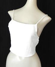 John Galt Crop Top Open Back/Scarf Tie Spaghetti Stap Ivory Sheer One Size
