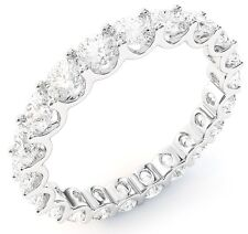 "3.11 ct Round Diamond Ring 18k White Gold Eternity ""U"" Band Size 7 0.15 ct each"
