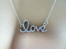 Sweet Crystal Love Motif Pendant and Necklace Chain Ladies or Girls Jewellery