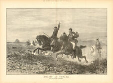 Chasse au renard, by Guillaume Regamey. Fox hunting 1874 antique ILN full page