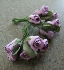 20 Lilac Mini Mulberry Paper Rose Bud Stems Card Making Craft Embellishments