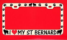 I Love My St Bernard Chrome License Plate Frame Tag Dog Paw Weatherproof Vinyl