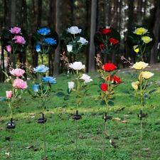 Solar Power Rose Flower Garden Stake Outdoor landscape Lamp Yard LED Light