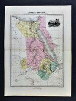 1877 Migeon Map - Egypt Modern - Nubia Abyssinia Darfur Jerusalem Suez Africa