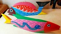 Set of 2 Wood Fish Figures Hand Painted Tropical Beach Art Deco Piece