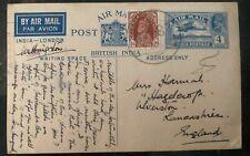1941 MEF Eritrea India Stationary Postcard Cover To Lancashire England