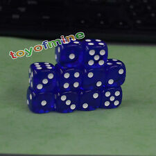 16mm 10Pcs Transparent Six Sided Spot Dice Toys D6 RPG Role Playing Game Blue
