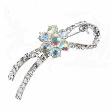 SHAPED KNOTT STYLE CRYSTAL AND DIAMANTE SCARF PIN / BROOCH