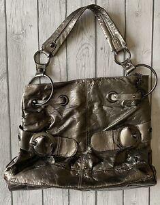 Kathy Van Zeeland Silver Dark GrayLarge Buckle Purse Bag Tote