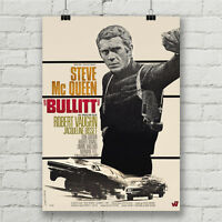 Steve McQueen Bullitt  Movie Poster Car Racing Canvas Art Print Wall Decor