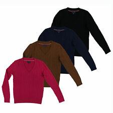 Tommy Hilfiger Mulheres Cabo Knit pulôver suéter decote em V Roupas para Sair Logo Bandeira Nova