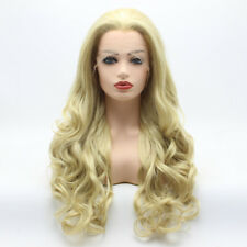Meiyite Hair Wavy Long 26inch Two Tone Honey Blonde Mix Synthetic Lace Front Wig