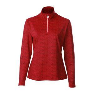 JRB Ladies Stretch Base Layer Skin Zip Neck Micro Fleece Red Print S M L XL XXL