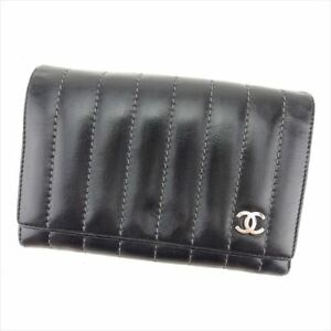 Chanel Wallet Purse Bifold Black Woman unisex Authentic Used T8461
