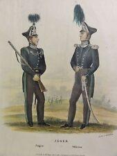 August ACHILLES (1798-1861) kolor-Litho c 1840: -SOLDATEN- JAEGER UND OFFICIER
