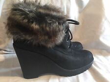 Duo Boots Black Leather Fur Trim Ankle New Smart Casual Womens Size 8 41 Trendy