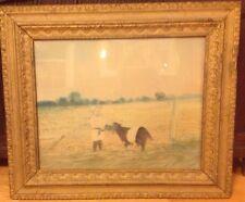 Antique 19th.c Landscape Watercolor Painting Child Feeding A Cow Farm Primitive