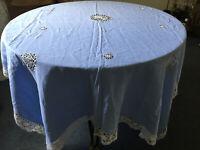 """VINTAGE Large 66 X 78"""" Blue Table Cloth Table Linen Wite Crochet Hem Centre"""