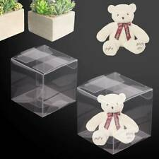100/200x Clear Cube Favour Box PVC Transparent Chocolate Sweets Cup Cake Wedding