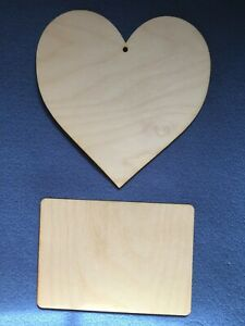 Birch 4mm Plywood Rectangle/Heart Plaques Signs Pyrography Blanks