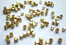 100 perles métalliques intercalaires cube - Ø 2,5 mm - Or