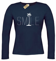 Womens Smile Palm Trees Graphic Tee Beach Bum Ocean Graphic long T-Shirt ladies