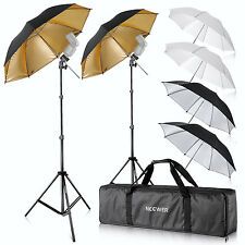"Neewer Flash Mount Three Umbrellas Kit (2)33"" White Silver Reflective Umbrella"