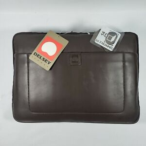 """NEW DELSEY ICONES DARK BROWN LEATHER 14"""" LAPTOP CASE COVER SLEEVE BAG TRAVEL"""