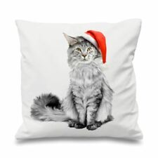 Maine Coone in Santa Hat Christmas Sofa Cushion
