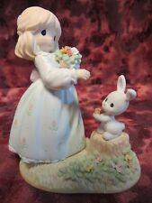 "Precious Moments #4001247 ""Some Bunny Loves You"" -Girl w/Bunny & Flowers -Nib"